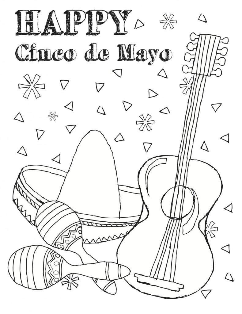 Gratis utskrivbare Cinco De Mayo-fargeleggingssider for barn